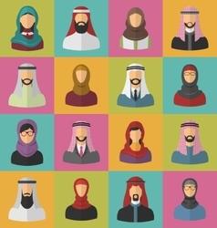 set arabic men and women vector image