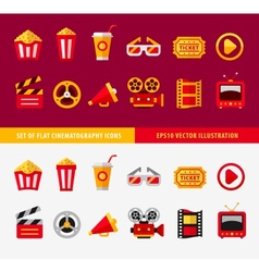 set flat cinema icons for online vector image