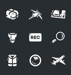 set of aircraft flight recorder icons vector image
