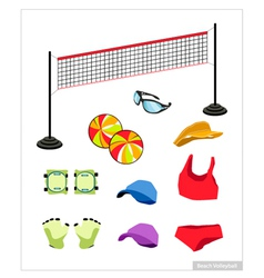Set of Beach Volleyball Equipment on White vector