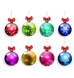 Set of multicolored Christmas balls with red bows vector image