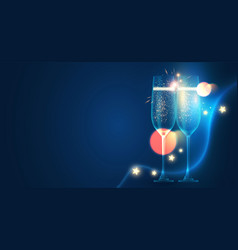 Shining champagne glasses with lights holiday vector