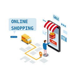 shopping online isometric design express delivery vector image