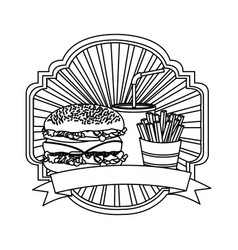 Silhouette emblem with hamburger soda and fries vector