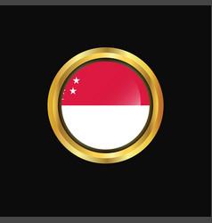 singapore flag golden button vector image