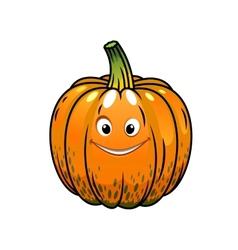 Smiling cartoon fall pumpkin vector
