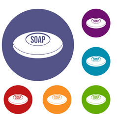 soap icons set vector image