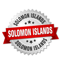 Solomon islands round silver badge with red ribbon vector