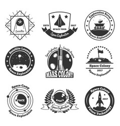 Space monochrome emblems set vector