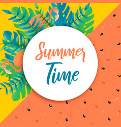summer time card tropical plant and flamingo vector image