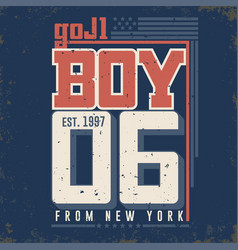 T-shirt graphics - boy from new york city vector