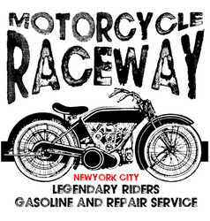 T-shirt or poster design with a motorcycle vector