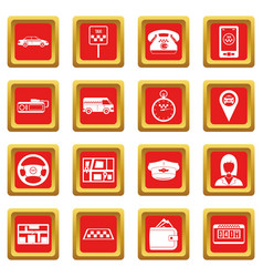 Taxi icons set red vector