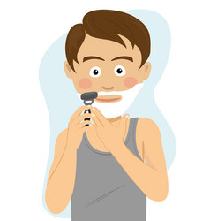 teenager boy shaving for the first time vector image