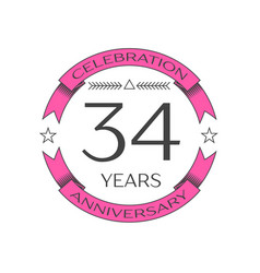 Thirty four years anniversary celebration logo vector