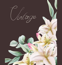 Vintage lily flowers with green leaves composition vector