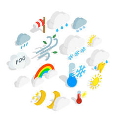 weather icons set isometric 3d style vector image