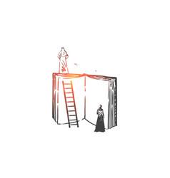 wisdom mentoring aspirations concept sketch vector image