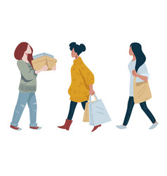 women with shopping bags or clothes stack sale vector image
