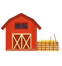 Wooden equipment hayfork and hay farmland vector