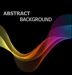 abstract colorful line wave on black background vector image