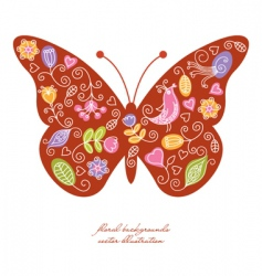 butterfly floral elements vector image vector image