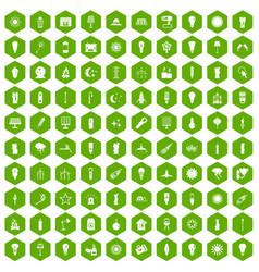 100 light source icons hexagon green vector