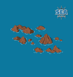 brown reefs on a blue background pirate game vector image vector image