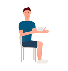 cartoon of seated man in chair with vector image vector image