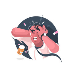 grimace of man with severe headache vector image vector image