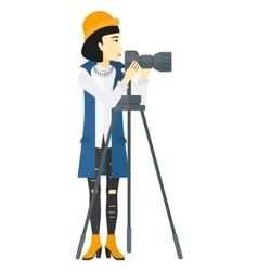 Photographer working with camera vector image vector image