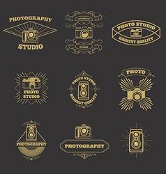 Set of vintage photo studio labels and emblems vector image
