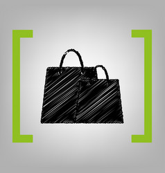 shopping bags sign black scribble icon in vector image vector image
