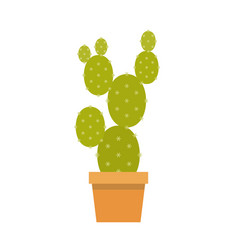 cactus in pot flat design vector image vector image