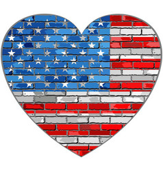 flag of usa on a brick wall in heart shape vector image vector image