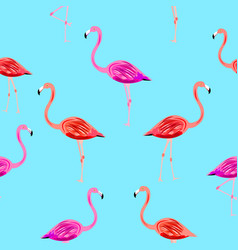 Flamingo seamless pattern on mint blue background vector