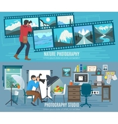 Photographer Banner Set vector image