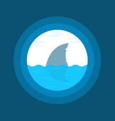 shark fin in water seen in telescope vector image