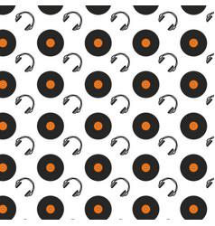 vinyl and headphones music background vector image