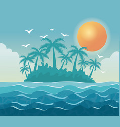 colorful poster sky landscape of palm trees on the vector image