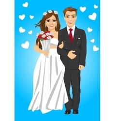 Cute young married couple posing with bouquet vector image