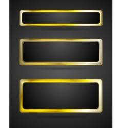 Golden metal banner frame border vector image
