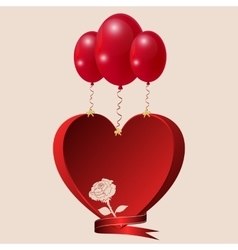 Red heart with a rose balls and lentoy vector image
