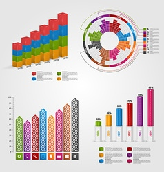 Set colorful business chart for infographic and vector image vector image