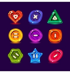 Set of 9 color clothing buttons vector image
