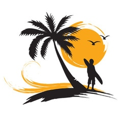 Tropical landscape with surf vector image