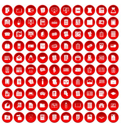 100 document icons set red vector