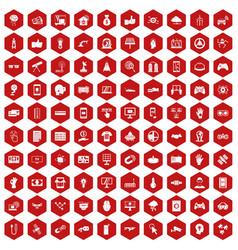 100 hi-tech icons hexagon red vector