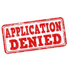 Application denied stamp vector