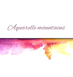 Aquarelle mountains yellow violet vector